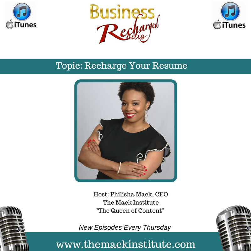 business recharged radio podcast recharge your resume the mack